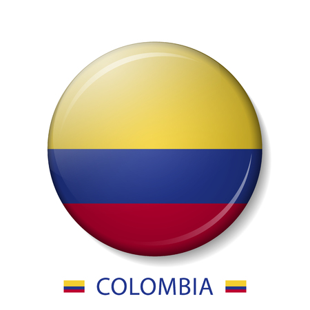 Vector illustration of COLOMBIA flag buttons, 3d round vector icons.