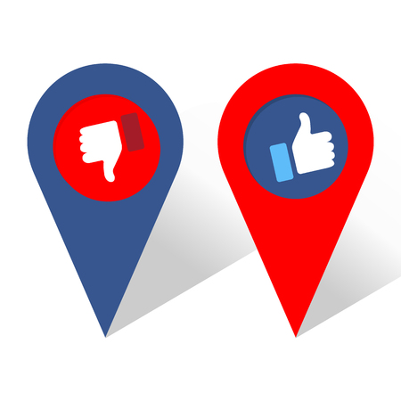Like und Dislike Icon. Navigationssymbol. Daumen hoch und Daumen runter, Hand- oder Fingerillustration. Symbol für Positiv und Negativ. Preisauswahl für Social Media, Web und Apps. Vektorillustration