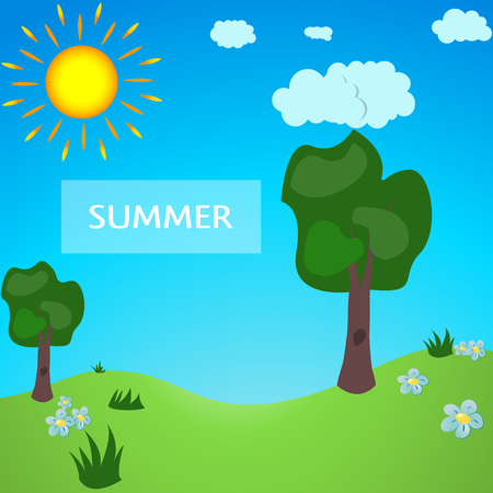 Summer meadow full of cartoon style. Green park. Summer Park, summer forest.