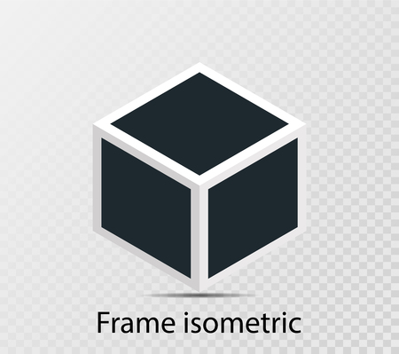 Rotational concept isometric cube with retro photo frame, double isolated object on transparent background with shadow. 3D design. Vector illustration.