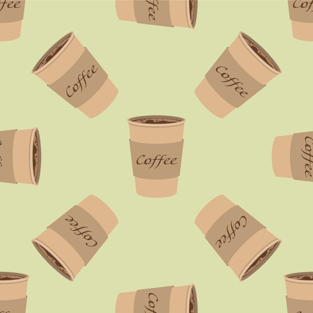 Pattern of paper Coffee Cups on vintage background. Collection 3d Coffee Cup Mockup. Vector Template