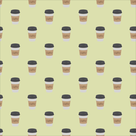 Pattern of plastic and paper Coffee Cups on vintage background. Collection 3d Coffee Cup Mockup. Vector Template.