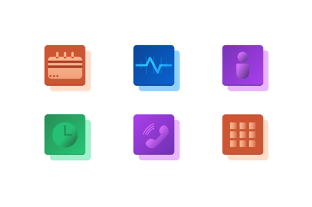 Set of icons material and linear design. For your design solutions, apps. Isolated on a white background, the layers are packed. Vector Icons