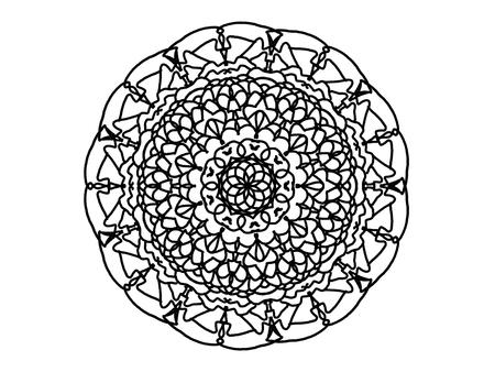 Modern Decorative floral black color mandala. Super rastr round Shapes. Isolated on a white background Imagens