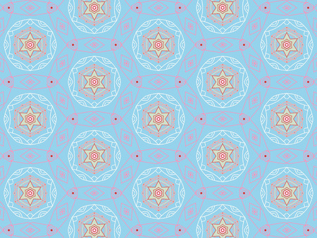 Blue color Pattern Mandala With Abstract Floral And Leave Style. Repeating Sample Figure And Line. For Modern Interiors Design, Textile Industry, Wallpaper. Isolated on a blue background