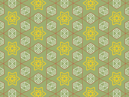 Yellow color Pattern Mandala With Abstract Floral And Leave Style. Repeating Sample Figure And Line. For Modern Interiors Design, Textile Industry, Wallpaper. Isolated on a green background