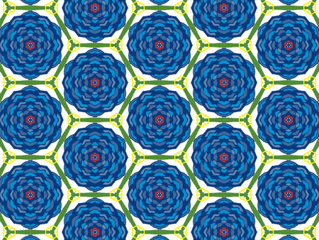 Blue color Pattern Mandala With Abstract Floral And Leave Style. Repeating Sample Figure And Line. For Modern Interiors Design, Textile Industry, Wallpaper. Isolated on a green background Imagens