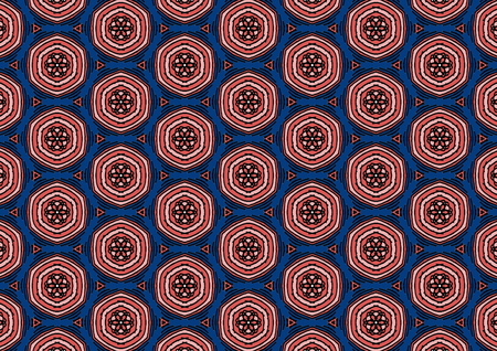 Super red color Pattern Mandala With Abstract Floral And Leave Style. Repeating Sample Figure And Line. For Modern Interiors Design, Textile Industry, Wallpaper. Isolated on a blue background