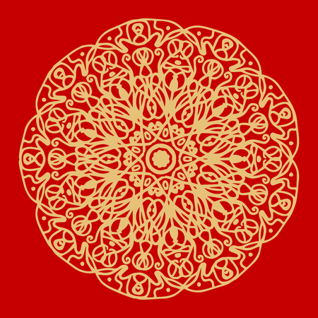 Flower Gold Mandala. Vintage decorative elements. Oriental pattern, vector illustration. Indian ornament. Isolated on a red background. Super vector part 3