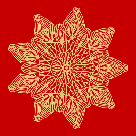 Flower Gold Mandala. Vintage decorative elements. Oriental pattern, vector illustration. Indian ornament. Isolated on a red background.