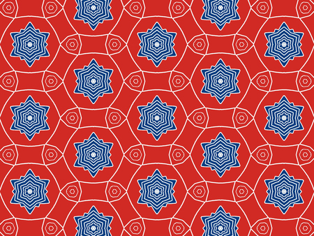 White and bluecolor Pattern Mandala With Abstract Floral And Leave Style. Repeating Sample Figure And Line. For Modern Interiors Design, Textile Industry, Wallpaper. Isolated on a red background Imagens