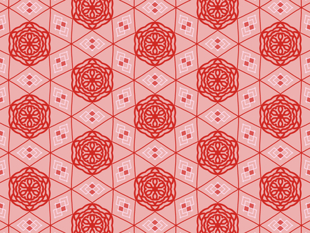 Red color Pattern Mandala With Abstract Floral And Leave Style. Repeating Sample Figure And Line. For Modern Interiors Design, Textile Industry, Wallpaper. Isolated on a rose background Imagens