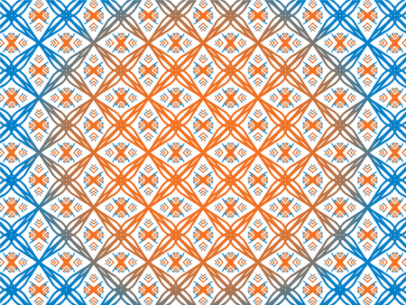 Abstract Repeat Backdrop With Lace Floral Ornament. Seamless Design For Prints, Textile, Decor, Fabric. Super Vector Pattern. Decorative wallpaper for interior design. Orange and blue color