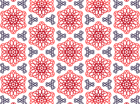 Abstract Repeat Backdrop With Lace Floral Ornament. Seamless Design For Prints, Textile, Decor, Fabric. Super Vector Pattern. Decorative wallpaper for interior design. Red and blue color gradient 向量圖像