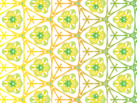 Abstract Repeat Backdrop With Lace Floral Ornament. Seamless Design For Prints, Textile, Decor, Fabric. Super Vector Pattern. Decorative wallpaper for interior design. Yellow and green color 向量圖像