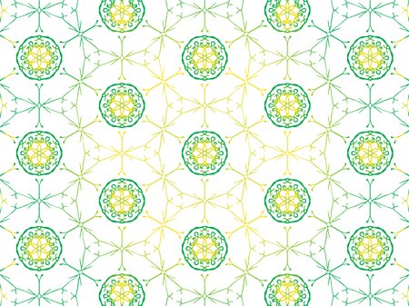Abstract Repeat Backdrop With Lace Floral Ornament. Seamless Design For Prints, Textile, Decor, Fabric. Super Vector Pattern. Decorative wallpaper for interior design. Green gradient and yellow color 向量圖像