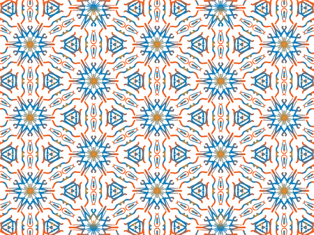 Abstract Repeat Backdrop With Lace Floral Ornament. Seamless Design For Prints, Textile, Decor, Fabric. Super Vector Pattern. Decorative wallpaper for interior design. Blue and orange gradient color