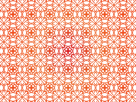 Abstract Repeat Backdrop With Lace Floral Ornament. Seamless Design For Prints, Textile, Decor, Fabric. Super Vector Pattern. Decorative wallpaper for interior design. Orange color Imagens - 126447642