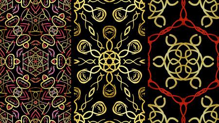 Set Geometric ornament, Floral Pattern. Illustration. For Design, Wallpaper, Background