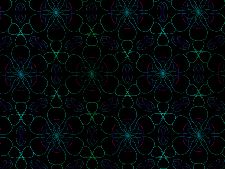 Oriental pattern neon color, illustration. Flower Mandala. Vintage decorative elements. Ornament. Isolated on a black background.