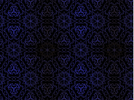 Oriental pattern blue color, illustration. Flower Mandala. Vintage decorative elements. Ornament. Isolated on a black background.