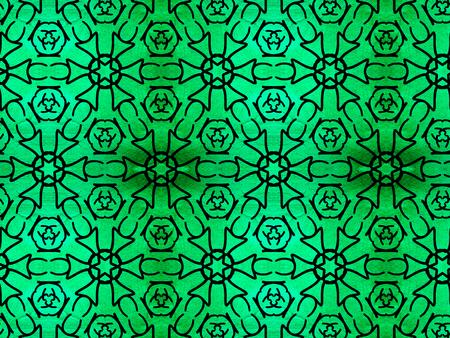 Oriental pattern black color, illustration. Flower Mandala. Vintage decorative elements. Ornament. Isolated on a green background.