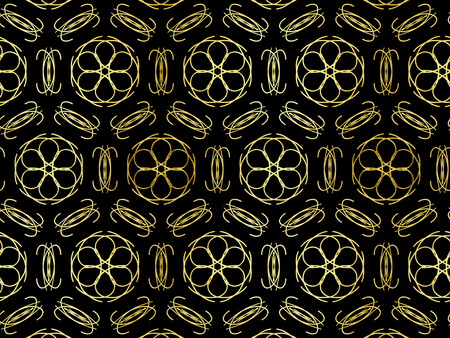 Oriental pattern gold color, illustration. Flower Mandala. Vintage decorative elements. Ornament. Isolated on a black background.