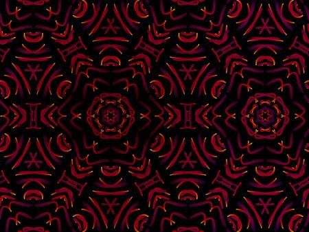 Oriental pattern red color, illustration. Flower Mandala. Vintage decorative elements. Ornament. Isolated on a black background.