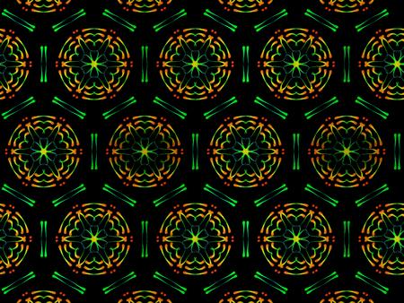 Oriental pattern neon gradient color, illustration. Flower Mandala. Vintage decorative elements. Ornament. Isolated on a black background