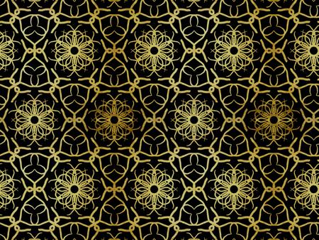 Oriental pattern gold color, illustration. Flower Mandala. Vintage decorative elements. Ornament. Isolated on a black background