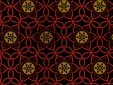 Oriental pattern red and gold color, illustration. Flower Mandala. Vintage decorative elements. Ornament. Isolated on a black background