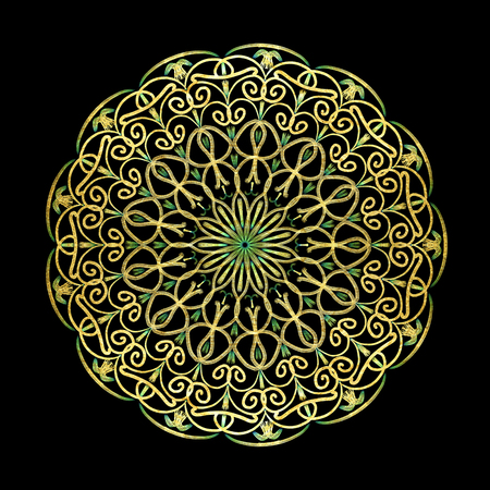 Round gold mandala on black isolated background. Illustration boho mandala in green and pink colors. Mandala with floral patterns. Yoga template