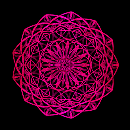 Round purple mandala on black isolated background. Illustration boho mandala in green and pink colors. Mandala with floral patterns. Yoga template