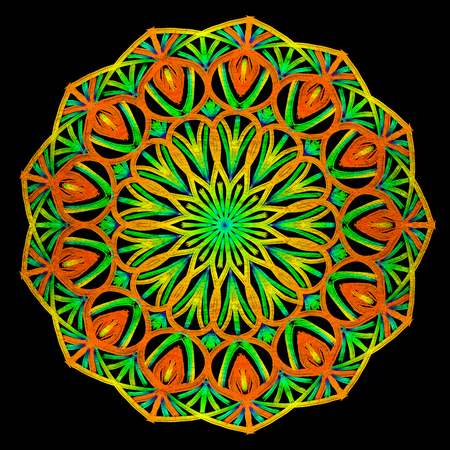 Round orang and green mandala on black isolated background. Illustration boho mandala in green and pink colors. Mandala with floral patterns. Yoga template Imagens