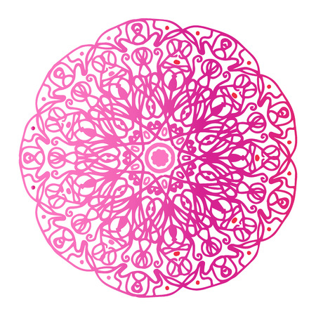 Round gradient mandala on white isolated background. Vector boho mandala in red and pink colors. Mandala with floral patterns. Yoga template Banque d'images - 126336387