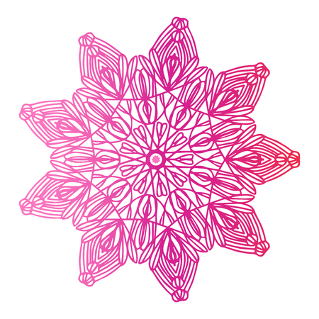 Round gradient mandala on white isolated background. Vector boho mandala in red and pink colors. Mandala with floral patterns. Yoga template Ilustração