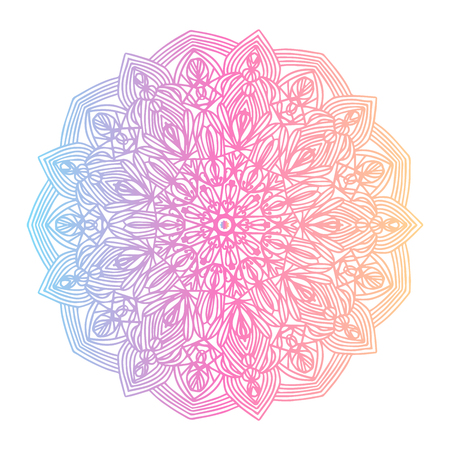 Round gradient mandala on white isolated background. Vector boho mandala in yellow and pink colors. Mandala with floral patterns. Yoga template Imagens - 126336389