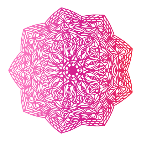 Round gradient mandala on white isolated background. Vector boho mandala in pink color. Mandala with floral patterns. Yoga template