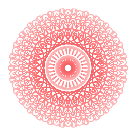 Round gradient mandala on white isolated background. Vector boho mandala in living coral colors. Mandala with floral patterns. Yoga template