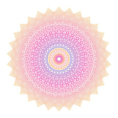 Round gradient mandala on white isolated background. Vector boho mandala in corar and pink colors. Mandala with floral patterns. Yoga template