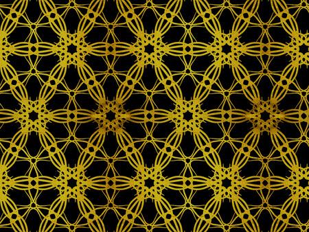 Oriental pattern gold color, illustration. Flower biljna arabeska and mandala. Vintage decorative elements. Ornament. Isolated on a black background