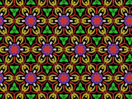 Oriental pattern flower color, illustration. Flower Mandala. Vintage decorative elements. Ornament. Isolated on a black background Imagens