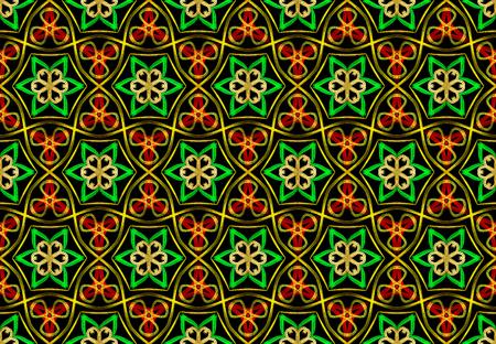 Oriental pattern green color, illustration. Flower Mandala. Vintage decorative elements. Ornament. Isolated on a black background
