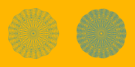 Yoga ornamental emblems biljna arabeska and mandala set. Vector geometric symbols with typography. Graphic templates for relax or spa center, yoga studio, healthcare and traditional medicine. part 3 Reklamní fotografie - 126315194