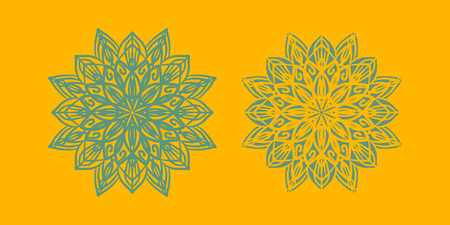 Yoga ornamental emblems biljna arabeska and mandala set. Vector geometric symbols with typography. Graphic templates for relax or spa center, yoga studio, healthcare and traditional medicine. part 5 Banque d'images - 126315195