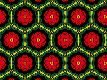 Oriental pattern red color, illustration. Flower Mandala. Vintage decorative elements. Ornament. Isolated on a black background