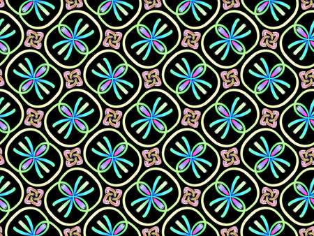 Oriental pattern neon blue color, illustration. Flower Mandala. Vintage decorative elements. Ornament. Isolated on a black background Imagens