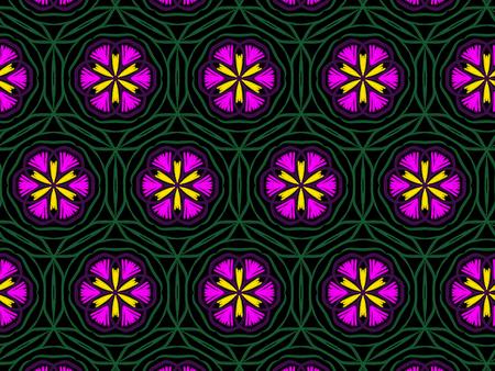 Oriental pattern rose flower color, illustration. Flower Mandala. Vintage decorative elements. Ornament. Isolated on a black background Imagens
