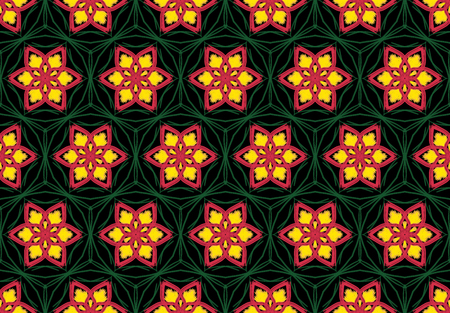 Oriental pattern flower red and yellow color, illustration. Flower Mandala. Vintage decorative elements. Ornament. Isolated on a black background
