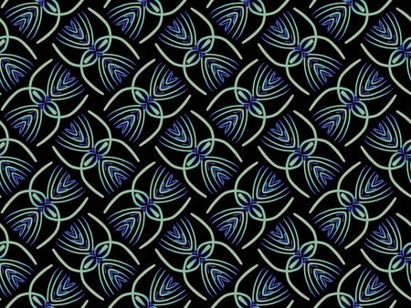Oriental pattern blue color, illustration. Flower biljna arabeska and mandala. Vintage decorative elements. Ornament. Isolated on a black background.